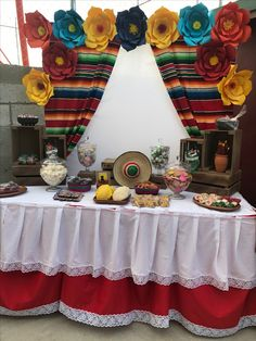Mexican Theme Candy Table #Mexicanparty#Dulces #Rosasdepapel#Serape