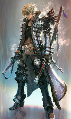 Com/Artwork/Two-Sword-Man anime fantasy, fantasy male, fanta Fantasy Male, Fantasy Armor, Medieval Fantasy, Fantasy Character Design, Character Design Inspiration, Character Concept, Character Art, Concept Art, Character Reference