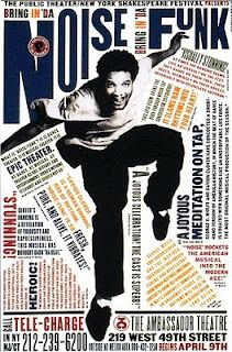 """""""Bring in 'Da Noise, Bring in 'Da Funk""""  In her 1996 promotional design and advertisements for the rap, tap-dance musical, """"Bring in 'Da Noise, Bring in 'Da Funk"""", Scher brings the poster to life through her use of typography. Scher draws from the city and brings justice to the event by creating a visible, loud, and urban poster. The goal of this piece was to make the typography personify the noise and spirit of the tap dancing seen in the show."""
