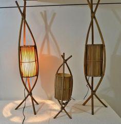 Alugue Decor - Aluguel de Utensílios de Decoração em Niterói para eventos e festas - Conjunto 04 Luminárias Bambú