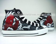 Asian Tattoo Style custom sneaker Hand Painted Canvas Shoes High