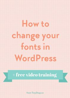 How to change fonts in WordPress. I was playing around with the fonts on one of my sites and decided to turn it into a free video tutorial.