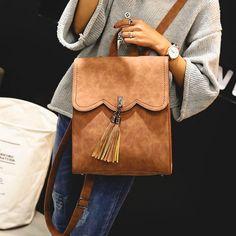 How nice Retro Simple PU Tassels Women Student Backpack School Bag ! I like it ! I want to get it ASAP!