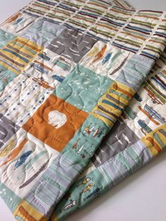 Organic KNIT Jersey Baby Blanket Set Woodland Party by CoolSpool ... : organic baby quilt - Adamdwight.com