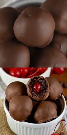 Covered Cherry Brownie Bombs These tiny little truffles of amazingness are easy enough to make, but even easier to eat!These tiny little truffles of amazingness are easy enough to make, but even easier to eat! Sweet Recipes, Yummy Recipes, Delicious Desserts, Yummy Food, Snacks Recipes, Easy Candy Recipes, Delicious Cookies, Sweet Desserts, Keto Snacks