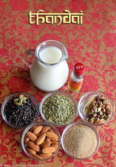thandai recipe a very popular drink in north India.thandai is made during mahasivarathri and holi.this thandai recipe is very easy to make with available ingredients in your kitchen. Holi Recipes, Veg Recipes, Cooking Recipes, Recipies, Healthy Juices, Healthy Smoothies, Healthy Drinks, Masala Powder Recipe, Masala Recipe