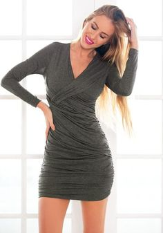Date Night Style // Stand out in the sea of crowd in this grey surplice ruched bodycon dress.