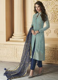 Party Wear Blue color Salwar Kameez in Faux Georgette fabric with Slits Embroidered, Resham, Thread work Pakistani Dress Design, Pakistani Dresses, Indian Dresses, Indian Outfits, Pakistani Suits, Indian Clothes, Punjabi Suits, Salwar Designs, Kurti Designs Party Wear
