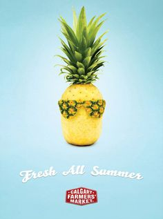 Summery-looking, creatively carved pineapple for ad.