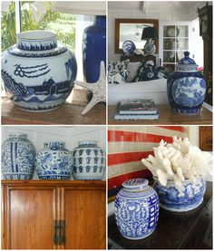 All the blue and white in this cottage mixes well with the homeowner's coastal decor. This is a darling home with breathtaking views of the Newport harbor .