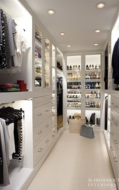 We love the use of shelf lighting in this closet, it really accentuates the length of the space.