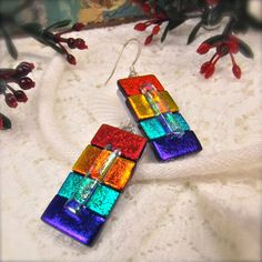 Color block earrings dichroic glass fused by HanaSakuraDesigns