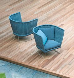 Ami - Paola Lenti | design: Francesco Rota - Series composed of low and high chair, armchairs and sofas. (aquamarine armchair)