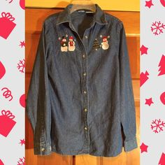 Christmas Denim shirt New with tag sticks and extra button. Size small.obo :) Tops Button Down Shirts