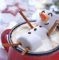 SLEEPING SNOWMAN IN HOT CHOCOLATE- so cute;  kids would love this!