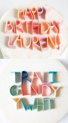 DIY: Cake decoration lettering ~ just use any coloured gum and decorate away! Perfect for weddings, anniversaries, birthdays - basically any special occasions! So simple yet gorgeous!!