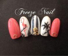 Flamingo, palm tree and pink nails! Sea Nails, Pink Nails, Nail Swag, Cute Nails, Pretty Nails, Frozen Nails, Flamingo Nails, Vacation Nails, Japanese Nails