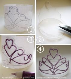 """Ez DIY Crown for the """"Valentine For A Day"""". / Birthday Girl / Halloween Princess / etc.   You will need:  a. A 2-liter plastic soda pop bottle.  b. Glitter glue.  c. A sharp pair of scissors and  d. a little bit of tape."""