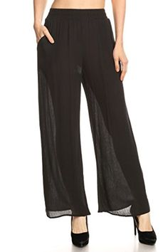 Ambiance Apparel Solid Line Wide Leg Palazzo Elastic Waistband