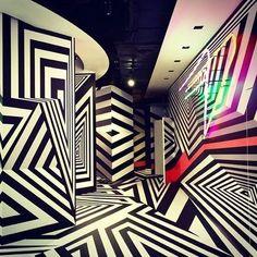 MCM x Tobias Rehberger pop-up in Central Hong Kong Tobias Rehberger, Interactive Walls, Memphis Design, Illusion Art, Light Installation, Optical Illusions, Retail Design, Art And Architecture, Sculpture Art