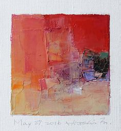 May 27, 2016 - Original Abstract Oil Painting - 9x9 painting (9 x 9 cm - app. 4 x 4 inch) with 8 x 10 inch mat