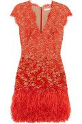As I embark on a new and exciting exercise regimen, I wish I had this dress to see every day as my reward for months of hard work. The combination of lace, deep v-neck and luscious red embody sexiness while the feathers flirt. Love it!