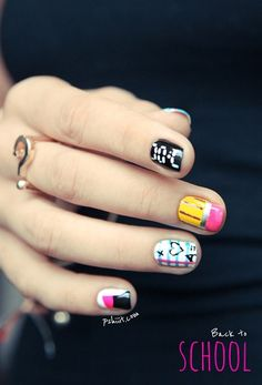Here we will help you to wear lovely back-to-school nail art designs, which will surely shock your friends. School Nail Art, Back To School Nails, Love Nails, How To Do Nails, Pretty Nails, Dream Nails, Nails Opi, Diy Nails, Cute Nail Art