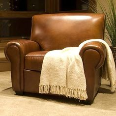 Elements Fine Home Furnishings - Taylor Rustic Brown Leather Reclining Chair