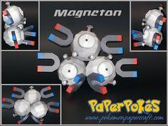 Paperpokés - Pokémon Papercraft: MAGNEMITE & MAGNETON Papercraft Pokemon, 3d Paper Crafts, Party Themes, Free Printables, Origami, Messages, Diy, Bricolage, Free Printable