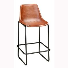 Tubular steel stool frame in black paint finish. Leather covered molded seat.Please note that the seat height is not suitable for kitchen or breakfast bars.