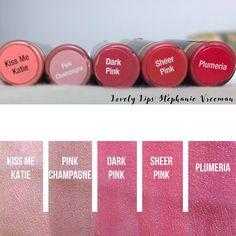 LipSense Pinks in stock at Lovely Lips: Stephanie Vreeman     - - -Kiss me Katie LipSense -Pink Champagne LipSense -Sheer Pink LipSense -Dark Pink LipSense -Plumeria LipSense -SeneGence