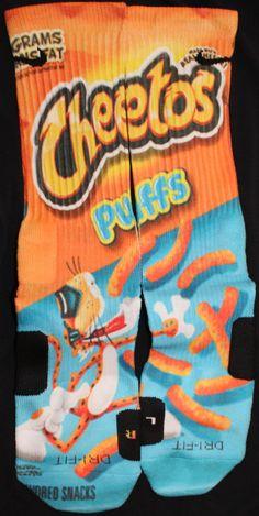 Cheetos Parody Custom Nike Elite Socks by LuxuryElites on Etsy. OMG do these socks smell like cheese :)) Funky Socks, Crazy Socks, My Socks, Cool Socks, Awesome Socks, Nike Elites, Nike Elite Socks, Nike Socks, Sport Socks