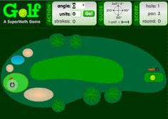 Good golfers need to know math for more than just adding up their scores. They have to know about angles and estimating, too. In this game, players use the tools available to determine the angle and distance they want their balls to go as they try to score as many holes in one as they can. Both estimation and measurement skills, as well as calculation skills get a workout on this golf course
