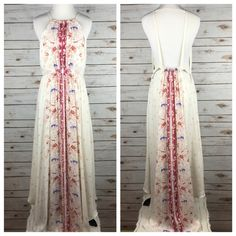 """[Free People] Caught In The Moment Dress Floral A vintage-inspired floral print lends charm to this Free People dress. Pleats give volume to the bodice. Curved asymmetrical hem creates a relaxed drape. Open back. Lined.  Color: Antique Combo Fabric: Polyester & Rayon Size: 8 Bust: 14"""" Length: 58"""" Condition: NWT!  No Trades! No PayPal! Free People Dresses Maxi"""