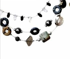 Checkout this amazing deal Multi strand necklace black and silver pearl SALE,$49