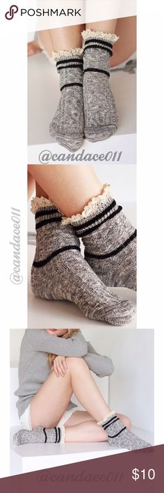 Two-Tone Cable Knit Sock (Grey) 🔹95% Cotton, 5% Spandex 🔹cable knit sock with stripe accent CC Boutique  Accessories