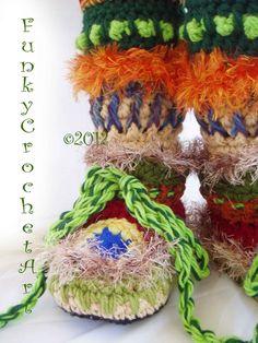 Crochet Slipper Boots/ Ladies Women Adult/ Leg por FunkyCrochetArt