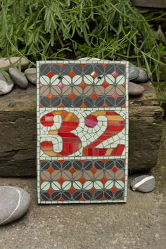 Mosaic house number (made to order)