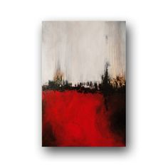 Red Painting Original Abstract Painting Black and White Brown Painting on Canvas…
