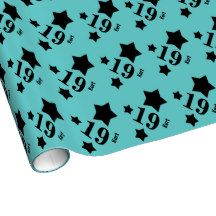 19th Teen Birthday STARS Custom Name Y13 AQUA Gift Wrapping Paper $17.95. To see more birthday wrapping paper, go to http://www.zazzle.com/jaclinart/products/cg-196333019616737524 #birthday #giftwrap #teen #teenager #gift #present #wrap #party
