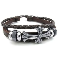 """Leather Bracelet-Celtic Cross Charm-(Brown)-Unisex  Color: Brown Silver  Width: 20 mm (0.8"""") and Length: 8"""" (20.3cm).  Material: Alloy and Leather  Please review shipping charges and details."""