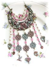 Vintage Pink White Glass Beads Floral Bib Necklace Charms Bird Pansies Chatelaine Inspired
