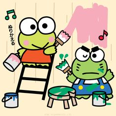 Keroppi and Ganta are working together.  Friends are the best helpers!