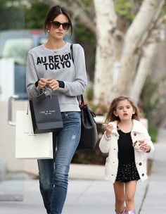 Alessandra Ambrosio shopping with Anja in Brentwood