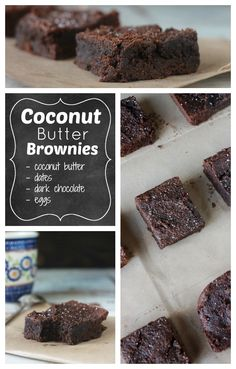Coconut Butter Brownies - Dark, rich, fudgy brownies everyone will love. Ingredients - coconut butter, dates, dark chocolate, eggs, sea salt, vanilla and baking soda. Simple whole foods made easy.