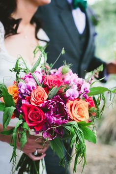 A blend of purple, red and orange blooms