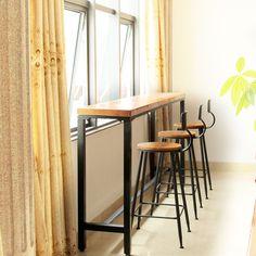 北歐吧台椅實木做舊酒吧桌椅鐵藝咖啡廳桌椅子組合星巴克高腳吧凳-tmall.com天貓