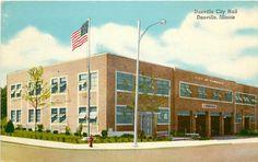 Danville, IL - New City Hall - Postcard.