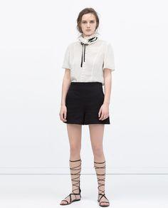 ZARA - 女士 - 提花高腰短褲