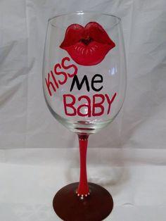 Valentine's Day Wine Glass Valentine's Day by GettingMyArtsyOn